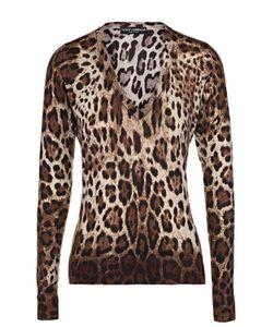 Dolce & Gabbana | Кашемировый Пуловер С V-Образным Вырезом И Леопардовым Принтом