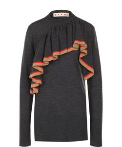Marni | Пуловер С Круглым Вырезом И Оборкой