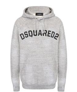 Dsquared2 | Хлопковая Толстовка С Контрастной Надписью И Капюшоном