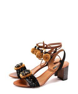 Dolce & Gabbana | Комбинированные Босоножки С Декором На Устойчивом Каблуке