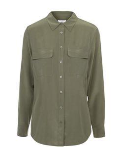 Equipment | Шелковая Блуза Прямого Кроя С Накладными Карманами