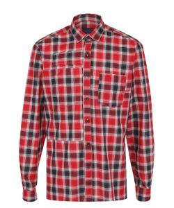 Lanvin | Хлопковая Рубашка В Клетку С Декоративными Заплатками