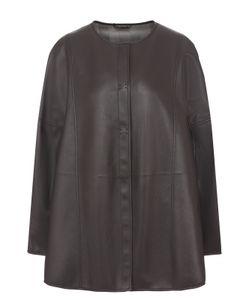 Giorgio Armani | Кожаная Куртка Свободного Кроя С Круглым Вырезом