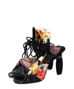 Dries Van Noten | Текстильные Босоножки На Фигурном Каблуке