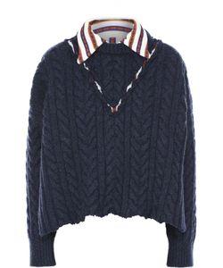 Maison Margiela | Укороченный Пуловер Фактурной Вязки С Контрастным Отложным Воротником
