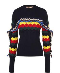 Marni | Облегающий Пуловер С Круглым Вырезом И Контрастными Оборками