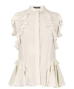 Alexander McQueen | Шелковая Блуза Без Рукавов С Воланами И Воротником Стойкой