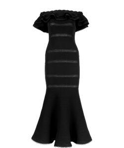 Alexander McQueen | Вечернее Платье В Пол С Юбкой Годе И Перфорацией