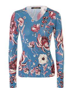 Roberto Cavalli   Облегающий Пуловер С V-Образным Вырезом И Цветочным Принтом