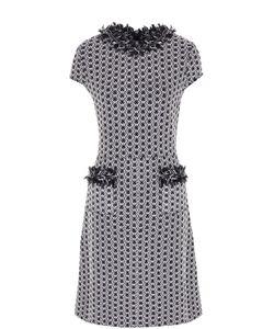 St. John | Приталенное Буклированное Платье С Бахромой