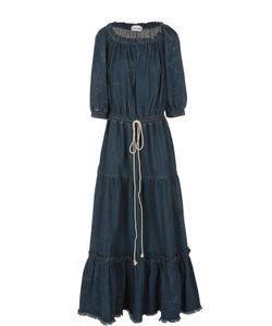 Chloe   Джинсовое Платье С Необработанным Краем И Открытыми Плечами Chloé