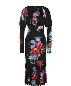 Dolce & Gabbana | Шелковое Платье-Миди С Цветочным Принтом