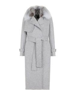Yves Salomon | Пальто Из Смеси Шерсти И Кашемира С Поясом И Меховой Отделкой