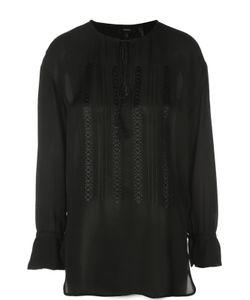 Theory   Удлиненная Шелковая Блуза С Вышивкой И Круглым Вырезом