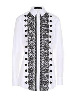 Dolce & Gabbana | Приталенная Хлопковая Блуза С Контрастной Кружевной Отделкой