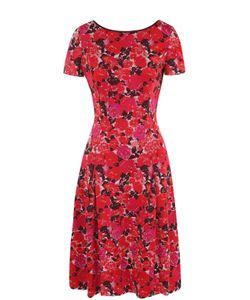 St. John | Приталенное Платье-Миди С Цветочным Принтом