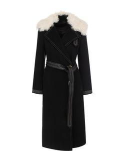 Helmut Lang | Шерстяное Пальто С Поясом И Отделкой Из Меха Овчины