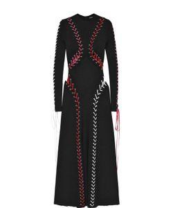 Alexander McQueen | Приталенное Платье-Миди С Контрастной Шнуровкой