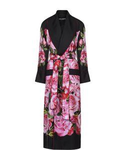 Dolce & Gabbana | Шелковое Пальто С Цветочным Принтом И Поясом