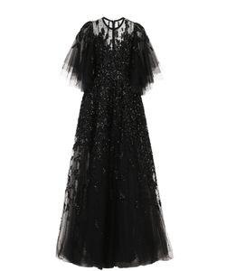 Elie Saab | Многослойное Платье С Подолом И Декоративной Отделкой Пайетками