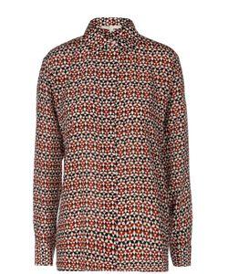 Maje | Прямая Шелковая Блуза С Контрастным Принтом
