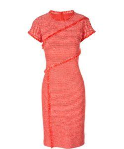 St. John | Приталенное Платье В Клетку С Бахромой