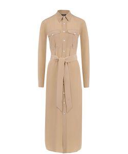 Polo Ralph Lauren | Шелковое Платье-Миди С Поясом
