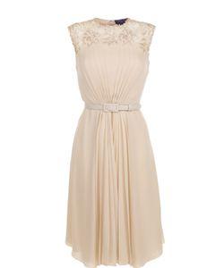 Ralph Lauren | Шелковое Платье С Ремнем И Кружевной Отделкой