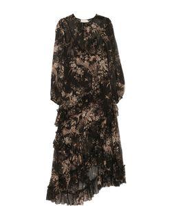 Zimmermann | Шелковое Платье-Миди Асимметричного Кроя С Принтом
