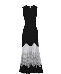Alexander McQueen | Приталенное Шерстяное Платье С Кружевной Вставкой