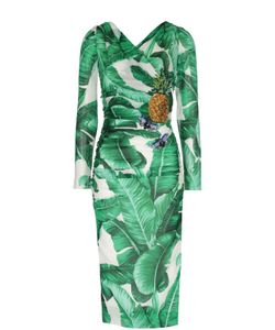 Dolce & Gabbana | Облегающее Платье С Цветочным Принтом И Вышивкой