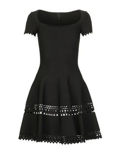 Alaïa | Приталенное Мини-Платье С Перфорацией И Овальным Вырезом