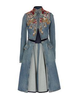 Alexander McQueen | Джинсовое Расклешенное Пальто С Вышивкой