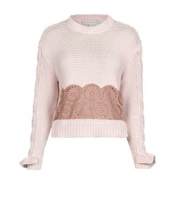 Stella Mccartney | Хлопковый Расклешенный Пуловер С Кружевной Вставкой