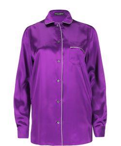 Dolce & Gabbana | Прямая Шелковая Блуза В Пижамном Стиле