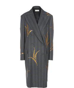 Dries Van Noten | Двубортное Пальто С Широкими Лацканами И Пайетками