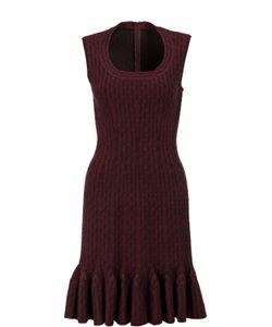 Alaïa | Приталенное Платье С Круглым Вырезом И Оборкой