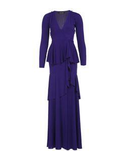 Roberto Cavalli | Приталенное Платье В Пол С Высоким Разрезом