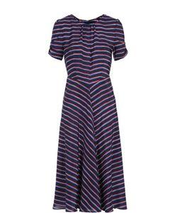 Altuzarra | Шелковое Платье-Миди В Контрастную Полоску С Укороченным Рукавом
