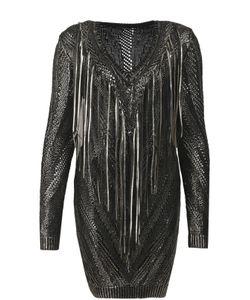 Roberto Cavalli | Вязаное Облегающее Платье С Металлизированной Отделкой