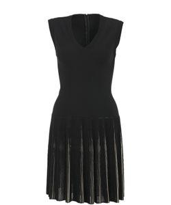 Alaïa | Приталенное Платье С Плиссированной Юбкой И V-Образным Вырезом