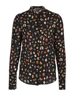 Alexander McQueen | Шелковая Блуза С Воротником-Стойкой И Контрастным Принтом