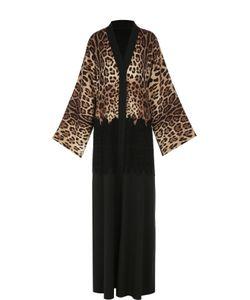 Dolce & Gabbana   Шелковое Платье-Туника С Кружевной Отделкой И Леопардовым Принтом