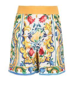 Dolce & Gabbana | Мини-Шорты С Ярким Принтом И Завышенной Талией