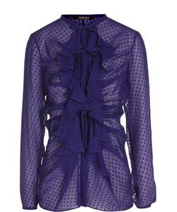 Roberto Cavalli | Шелковая Полупрозрачная Блуза С Воланами