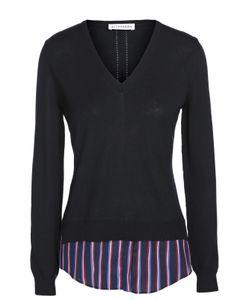 Altuzarra   Приталенный Пуловер С V-Образным Вырезом И Контрастной Шелковой Вставкой