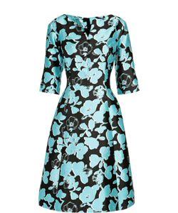 Oscar de la Renta | Приталенное Шелковое Платье С Укороченным Рукавом И Цветочным Принтом Oscar De