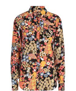 No. 21 | Шелковая Блуза С Контрастным Принтом И Накладными Карманами