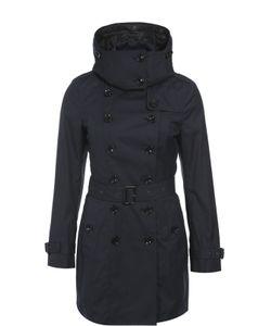Burberry Brit | Утепленное Двубортное Пальто С Поясом И Капюшоном