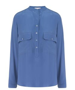 Stella Mccartney | Шелковая Блуза С Накладными Карманами И Воротником-Стойкой